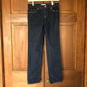 LOFT MODERN STRAIGHT DARK WASH DENIM JEANS BLUE 25